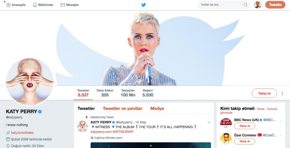 Twitter'da 100 milyon takipçiye ulaşan ilk kişi Katy Perry oldu